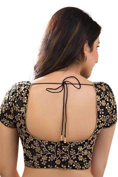 #Black & #gold designer wear soft silk delightful #blouse with broad v neck -BL757