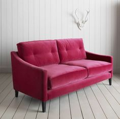 Velvet Sofa In Raspberry