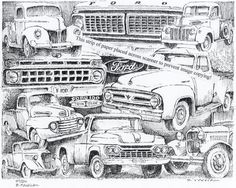 Vintage Ford Truck Collage ~ Signed Print