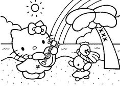 mermaid pictures to color hello kitty playing music coloring page