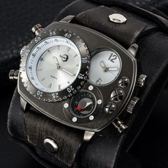 Edgy Black Dual Time Compass Military Men Watch Real Leather Goth Band