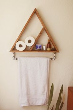 New!  Triangle shelf with towel holder for your bathroom or kitchen! Shelf is 24 wide on all sides, 3.5 inches deep, and with metal pipe 18 wide.…