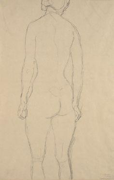 Klimt Study for The Virgin, Standing Nude from The Behind Drawing by Gustav Klimt Gustav Klimt, Klimt Art, Body Drawing, Life Drawing, Painting & Drawing, Art Nouveau, Pale Grunge, Drawing Exercises, Modern Artists