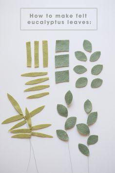 Make your own felt eucalyptus leaves with this tutorial! Cómo hacer que las hojas de eucalipto sentidas Felt Flowers, Diy Flowers, Fabric Flowers, Paper Flowers, Ribbon Flower, Ribbon Hair, Hair Bows, Felt Diy, Felt Crafts