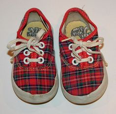 Vintage Child Toddler Red Plaid Shoes Sneakers  Little tenny runners from an estate sale, how sweet are these little shoes!