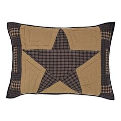"""Add a cohesive look to your Teton Star Quilted Bedding with our Teton Star Quilted Standard Sham 21x27""""!  I always think shams finish the look of bedding and these are so sweet with the giant quilted plaid star.  http://www.primitivestarquiltshop.com/Teton-Star-Quilted-Standard-Sham-21x27_p_9442.html"""