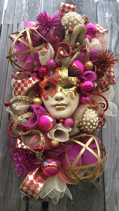 Mardi Gras Wreath Stunning Mardi Gras Celebration by BaBamWreaths