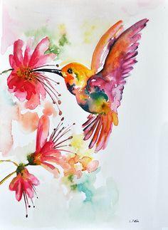 Pintura acuarela ORIGINAL vuelo Colibrí con flores de colores