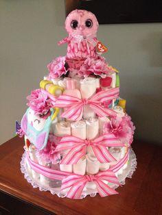 Owl diaper cake for baby girl!
