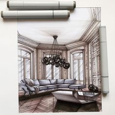 #sketch  #scetching  #interior  #interiordesign  #interiorsketch  #marker…
