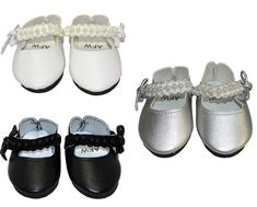 These pretty shoes feature a row of pearls along the ankle strap and fasten with a Velcro tab. Available in Black, White or Silver. Girl Doll Clothes, Girl Dolls, Sock Shoes, Baby Shoes, American Girl Wellie Wishers, Wellie Wishers Dolls, Pearl Dress, Pretty Shoes, Classy Dress