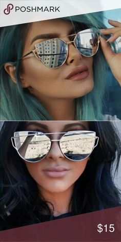 Silver Mirrored Cat Eye Sunglasses Like new condition Accessories Sunglasses