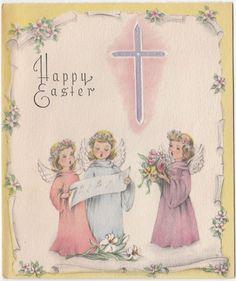 Vintage Greeting Card Easter Angels Angel Choir Cross 1940s a100
