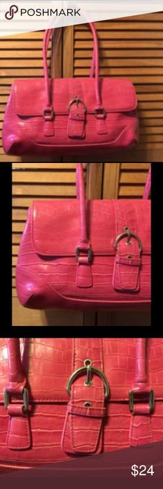 """New York & Co. Pink Embossed Crocodile Print Purse Pink embossed crocodile purse with silvertone hardware, pink lining with a divider, zippered pocket on one side. 14""""x9""""x4"""" wide bottom. Used once or twice. New York & Company Bags Satchels"""