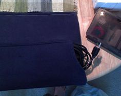 New Laptop Bag #3: Sweatshirt - would probably add velcro to front pocket so cords couldn't fall out