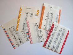 Geschenktüten - 5 Minitüten aus Notenpapier | Upcycling - ein Designerstück von BuchenStab bei DaWanda