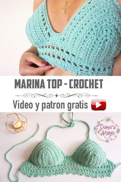 The perfect crochet top for summer! This top is very easy, fast … Top Tejidos A Crochet, Diy Crochet Top, Crochet Halter Tops, Crochet Bikini Top, Crochet Blouse, Crochet Beanie, Crochet Hats, Crochet Designs, Tricot