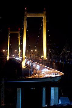Al Zampa Memorial Bridge at night Crockett / Vallejo, California by Steven Wilson