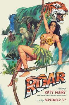 Katy Perry Unveils Tarzan Themed 'Roar' Poster To Confirm Music Video Premiere Katy Perry Wallpaper, American Idol, Katty Perri, Last Unicorn, Leopard Print Bikini, Pop Singers, Her Music, Models, Music Videos