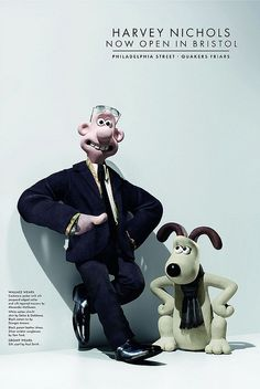 Wallace in Alexander McQueen jacket & trousers, shirt by Dolce & Gabbana, tie by Giorgio Armani, shoes by Tom Ford. Gromit in silk scarf by Paul Smith