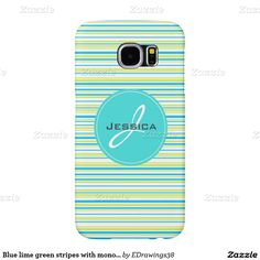 Blue lime green stripes with monogram in circle samsung galaxy s6 cases