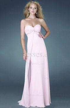 Modest Chiffon Sweetheart Zipper Beading Empire Evening Dress