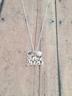 Graduation Monogram Necklace Senior Necklace Graduation Jewelry Graduation Gift Class of 2019 2020 2021 2022 Graduation Necklace