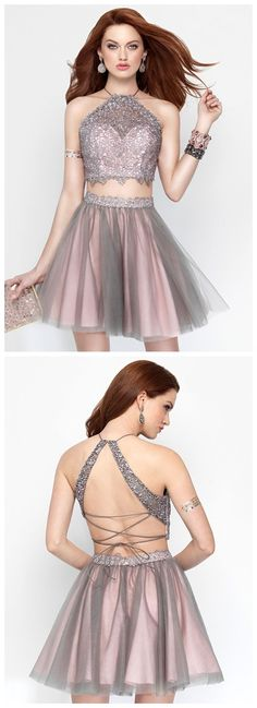 Two Pieces Homecoming Dress,Backless Homecoming Dress,Strap Homecoming Dress, Junior Homecoming Dress,Graduation Dress , Homecoming Dress ,Prom Dress for Teens,17640