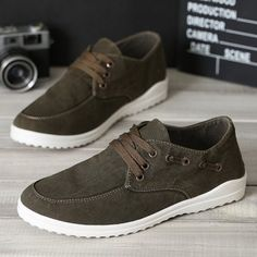 Lace Up Dark Color Eyelets Canvas Shoes