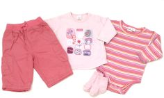 4-teiliges Baby-Set bestehend aus Hose (Marke #George), Langarmshirt (Marke #Next) und Langarmbody (Marke #Smily) in Größe 62