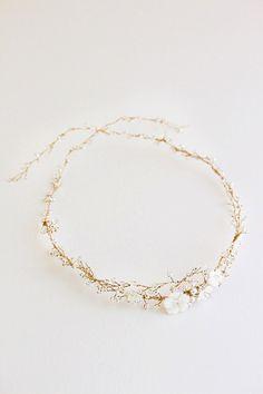 GISELLE Bohemian Bridal Headpiece Pearl Bridal by percyhandmade