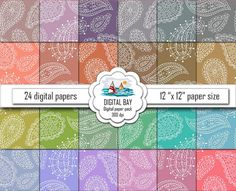 PAISLEY Dusty colors  Digital paper pack  Instant by DigitalBay