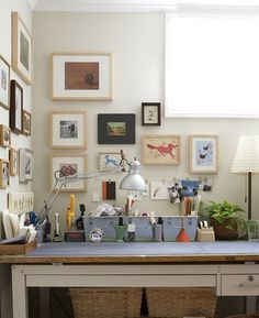 "Art Studio - What a great desk! ""This is the studio of Emma Rose Papery blogged by SFGirlByBay. This photo was taken by the wonderful photographer Angie Cao."""