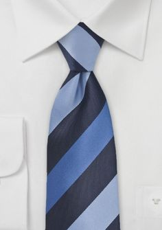 Krawatte Streifendesign navyblau königsblau himmelblau