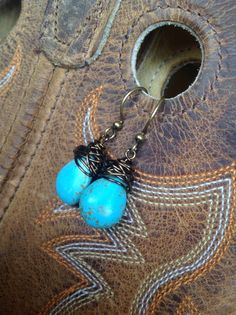turquoise wire wrapped nest earrings country theme wedding by joellieboutique.etsy.com $23.00 cowgirl western chunky jewelry