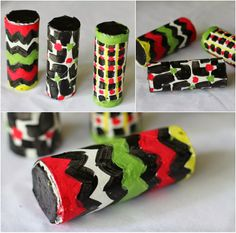 Colorful maracas made from toilet paper rolls. Great kids' craft project.