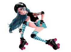 Roller Derby Girl by Yai Wu #rollerderby #rollergirl