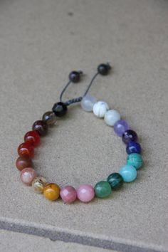 Esta es una hermosa pulsera representando todas los chakras. Hecho con bolas de 8mm piedras preciosas genuinas. Se adapta una muñeca de 6-7 pulgadas. Si desea un tamaño mayor (muñeca de 7.5 o 8 de ex.) ¡ por favor déjeme un mensaje en la sección de comentarios al finalizar la compra. Esto es en nudos de corredera y no elástico. CHAKRA 1 º---> raíz CHAKRA---> Base rojo ---> situado en la base de la zona de la espina dorsal y en la ingle. Esta es la naturaleza animal o base. ---> ...