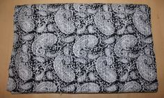 Handmade Indian Kantha Quilt Paisley Bedspread Throw Cotton Blanket Black Color #Unbranded #ArtNouveau
