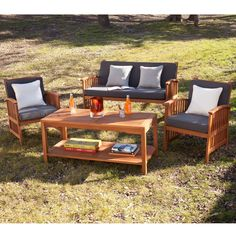 Host Hours Of Outdoor Fun With This Contemporary Outdoor Entertaining Set.  Two Armchairs, A