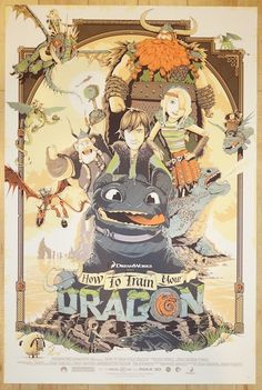 """How To Train Your Dragon - silkscreen movie poster (click image for more detail) Artist: Patrick Connan Venue: N/A Location: N/A Date: 2014 Edition: 165; signed and numbered Size: 24"""" x 36"""" Condition:"""