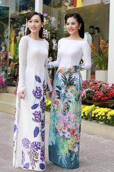 Vân Trang duyên dáng với áo dài hoa đồng cỏ nội