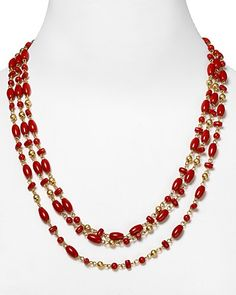 coral jewelry bloomingdales | ... Lauren Sierra Coral Three Row Rosary Linked Necklace | Bloomingdale's