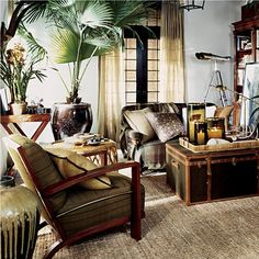 "Ralph Lauren Home Archives, ""Cape Lodge"", Living Room, 2008; ""Inspired by an exotic estate with echoes of safari, a warm earth-toned palette weaves together colonial, campaign and Moderne furnishings in mahogany, rattan and tent canvas with vachetta leather, madras and brass."""