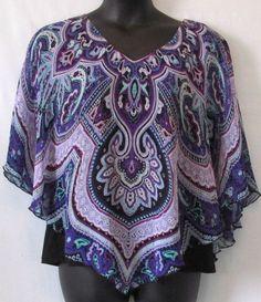 Sara Michelle Plus Size Purple White and Black Poncho Blouse Size 2x #SaraMichelle #Poncho
