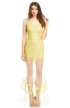 For Love & Lemons Antigua Maxi Dress in Neon yellow XS - M | DAILYLOOK