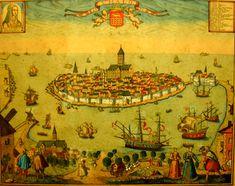 ETYMOLOGIE et HISTOIRE de SAINT-MALO. Saint-Malo tire son nom du moine breton Maclow, Maclou ou Malo originaire du pays de Gwent (Pays de Galles), dans la Cambrie méridionale. Saint-Malo succède à l'ancienne cité gallo-romaine d'Aleth (aujourd'hui en Saint-Servan). Cette place forte a été conquise en 56 avant J.C.,par les troupes de César. La cité d'Alet ou Aleth est entourée au IVème siècle de remparts et devient au Vème siècle, le siège de la préfecture de la légion de Mars... #SaintMalo Jacques Cartier, Saint Servan, St Malo, Old Houses, Saints, Canton, Recherche Google, Painting, France