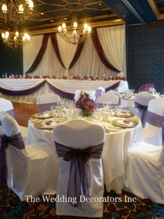 Like the chair covers and little flower centerpieces and head table but would use a different color Cake Table Decorations, Church Wedding Decorations, Reception Stage Decor, Event Decor, Purple And Silver Wedding, New Years Eve Weddings, Head Tables, Service Awards, Chair Covers