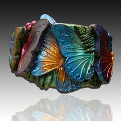 Adi's butterflies polymer clay cuff bracelet