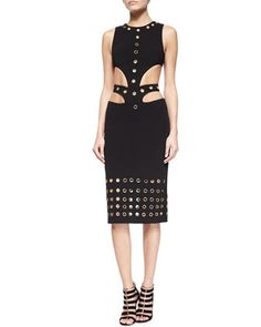 Grommet-Embellished Cutout-Waist Dress, Black by Cushnie et Ochs at Neiman Marcus.
